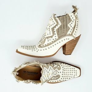 El Vaquero Embellished Studded Ankle Booties Ivory